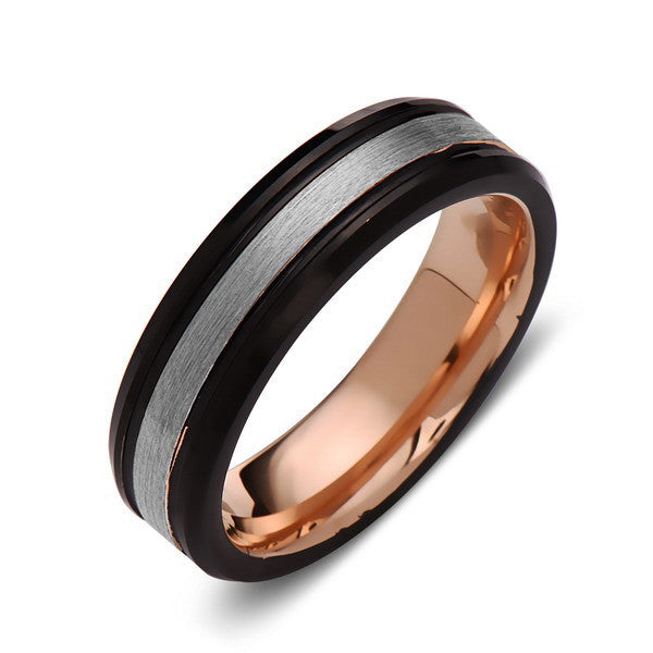 Gray Brushed Tungsten Wedding Band - Rose Gold Ring - Black - 6mm Ring - Unique Engagment Band - Comfor Fit - LUXURY BANDS LA