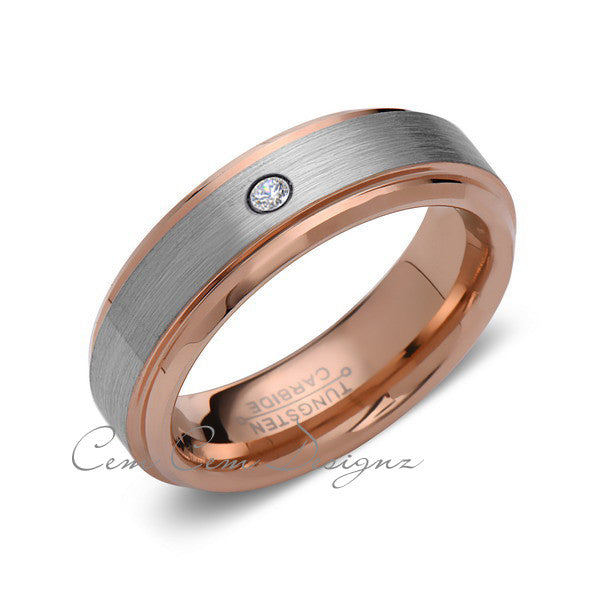 6mm,Mens,Diamond,Rose Gold,Wedding Band,,Gray,Brushed,Rose Gold,Tungsten Ring,Comfort Fit - LUXURY BANDS LA