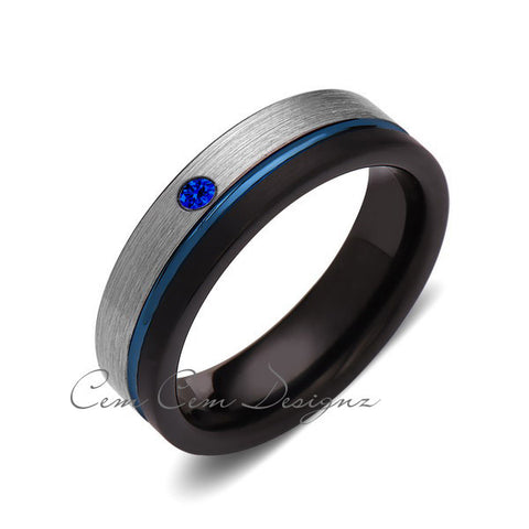 6mm,Blue Sapphire,Mens Diamond Ring,Gray,Black Brushed, Blue Groove,Tungsten Ring,Wedding Band,Blue,Comfort Fit - LUXURY BANDS LA