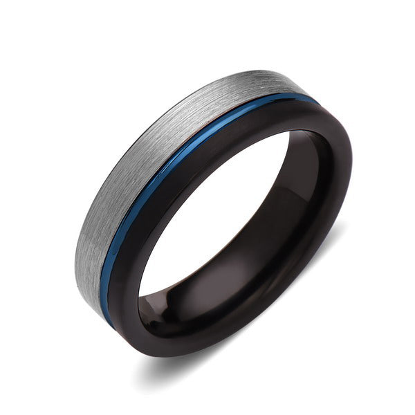 Black Tungsten Wedding Band - Gray Brushed - Blue Brushed Tungsten Ring - 6mm - Mens Ring - Tungsten Carbide - Engagement Band - Comfort Fit - LUXURY BANDS LA