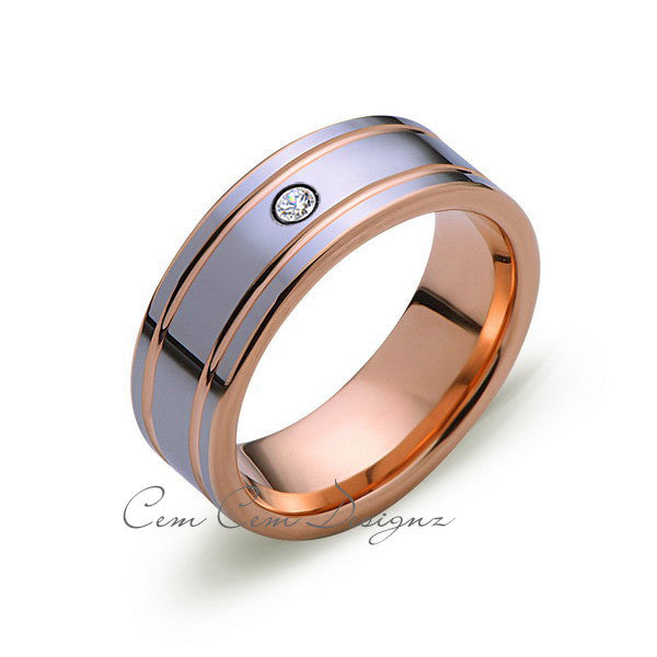 8mm,Mens,Diamond,Rose Gold,Wedding Band,unique,high polish,Rose Gold,Tungsten Ring,Comfort Fit - LUXURY BANDS LA