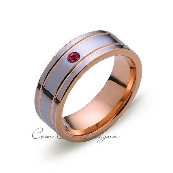 8mm,Mens,Red Ruby,Rose Gold,Wedding Band,unique,High Polish,Birthstone,Tungsten Ring,Comfort Fit - LUXURY BANDS LA