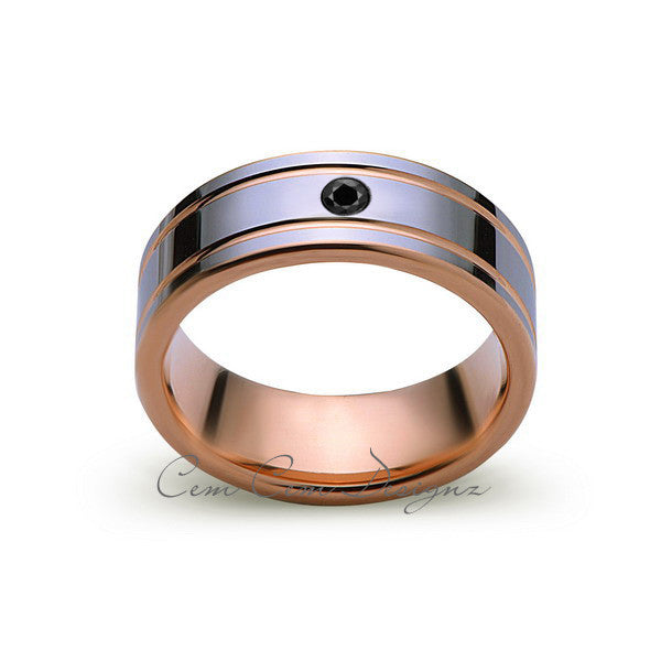 8mm,Mens,Black Diamond,Rose Gold,Wedding Band,unique,high polish,Rose Gold,Tungsten Ring,Comfort Fit
