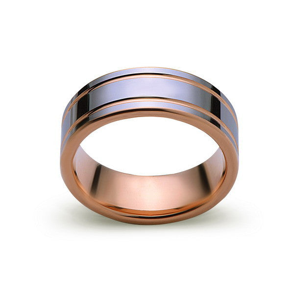Rose Gold Tungsten Wedding Ring - High Polish Silver Tungsten Band - 8mm - Mens Ring - Tungsten Carbide - Engagement Band - Comfort Fit - LUXURY BANDS LA