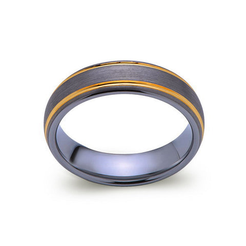 Brushed Gray Tungsten Wedding Band - Yellow Gold Tungsten Ring - 6mm Band -  Engagement Ring - LUXURY BANDS LA