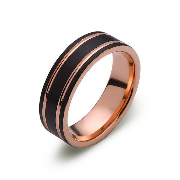 Rose Gold Tungsten Ring - Black Brushed Wedding Band - 8 mm Ring - Unique Engagement Band - Comfort Fit