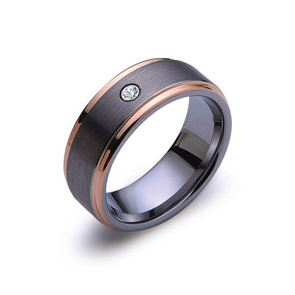 8mm,Mens,Diamond,Gray,Brushed,Rose Gold,Tungsten Ring,Rose Gold,Wedding Band,Comfort Fit - LUXURY BANDS LA