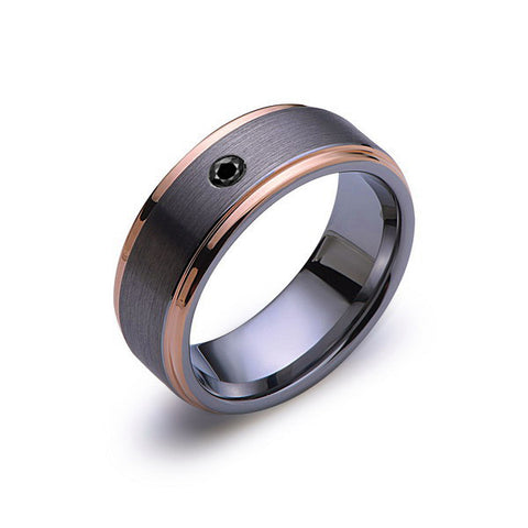 8 mm,Mens,Black Diamond,Rose Gold,Wedding Band,,Gray,Brushed,Rose Gold,Tungsten Ring,Comfort Fit - LUXURY BANDS LA