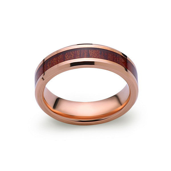 Koa Wood Wedding Ring - Rose Gold Tungsten Band - Hawaiian Koa Wood - 6mm - Mens - Comfort Fit - LUXURY BANDS LA