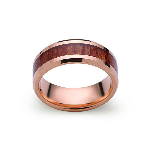 Koa Wood Wedding Ring - Rose Gold Tungsten Band - Hawaiian Koa Wood - 8mm - Mens - Comfort Fit - LUXURY BANDS LA