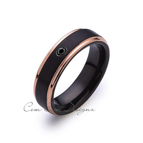 6mm,Mens,Black Diamond Band,Black Brushed,Rose Gold,Tungsten Ring,Rose Gold,Wedding Ring,Comfort Fit - LUXURY BANDS LA