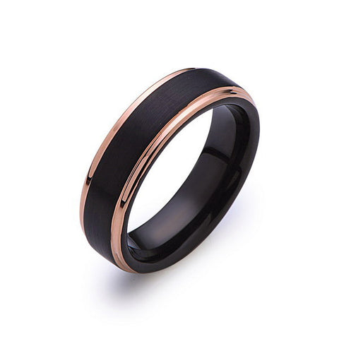 Black Tungsten Wedding Band - Black Brushed Ring - Rose Gold - 6mm Ring - Mens Ring - LUXURY BANDS LA