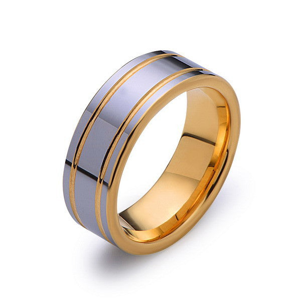 Yellow Gold Tungsten Band - High Polish Silver Ring - Yellow Groove - 8mm Band - Engagement Ring - Unisex - Tungsten Band - LUXURY BANDS LA