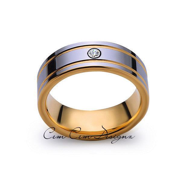 8mm,Mens,Diamond,Yellow Gold,Wedding Band,unique,high polish,Yellow Gold,Tungsten Ring,Comfort Fit - LUXURY BANDS LA