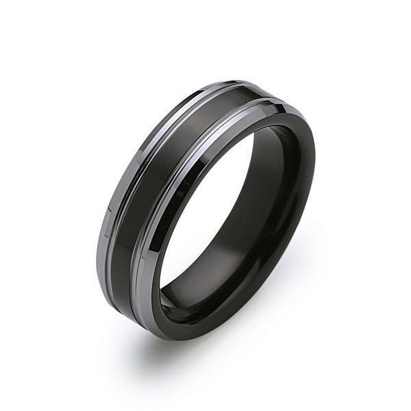 Black Tungsten Wedding Band - Black and Silver - 6MM - High Polish Ring - Mens Ring - LUXURY BANDS LA