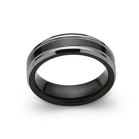 Black Tungsten Wedding Band - Black and Silver - 6MM - High Polish Ring - Engagement Band - Comfort Fit