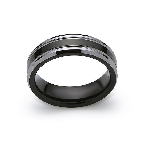 Men's Tungsten Wedding Band - Black and Silver - 6MM - High Polish Ring - Engagement Band - Comfort Fit - LUXURY BANDS LA
