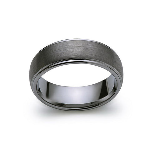 Gray Brushed Tungsten Ring - Gunmetal - 8mm - High Polish Stepped Edge - Engagement Ring - LUXURY BANDS LA