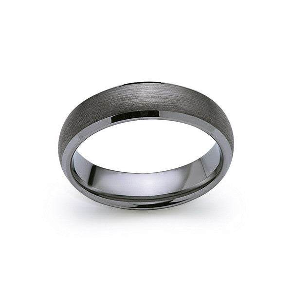 Gray Brushed Tungsten Ring - Gunmetal - 6mm - High Polish Beveled Edge - Engagement Ring - LUXURY BANDS LA