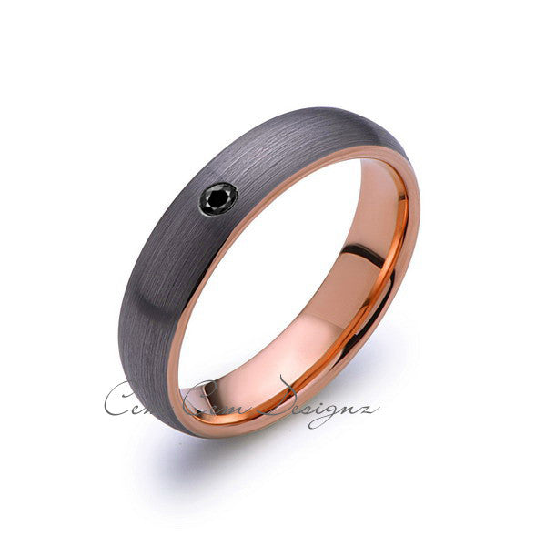 6mm,Mens,Black Diamond,Gray Brushed,Rose Gold,Tungsten Ring,Rose Gold,Wedding Band,Comfort Fit - LUXURY BANDS LA