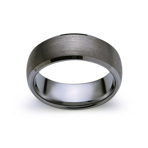 Gray Brushed Tungsten Ring - Gunmetal - 8mm - High Polish Beveled Edge - Engagement Ring - LUXURY BANDS LA