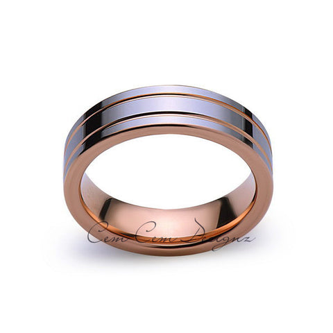 6mm,New,Unique,High Polish,Rose Gold Groove,Tungsten Rings,Wedding Band,Mens,Comfort Fit - LUXURY BANDS LA