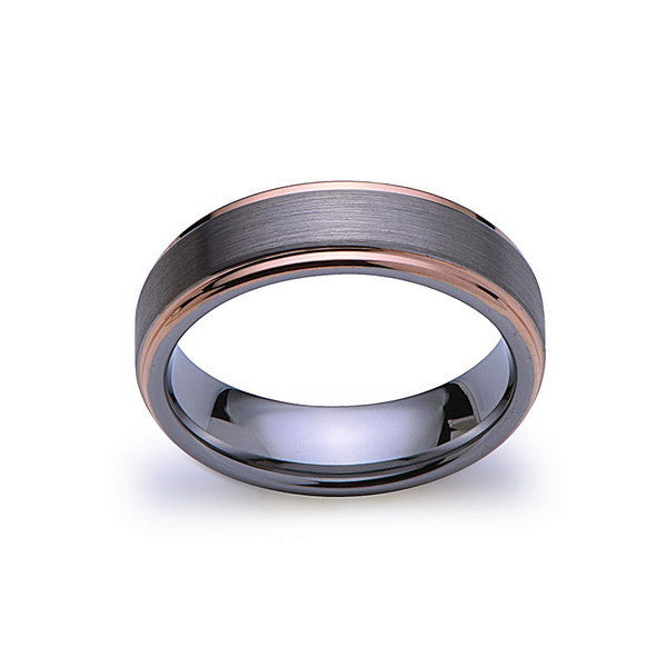 Rose Gold Tungsten Wedding Band - Gray Brushed Tungsten Ring - 6mm - Mens Ring - Tungsten Carbide - Men's Band - Comfort Fit - LUXURY BANDS LA