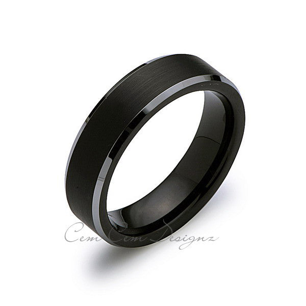 6mm,New,Unique,Black Satin Brushed,Tungsten Rings,Wedding Band,Matching,Comfort Fit - LUXURY BANDS LA