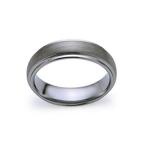 Gray Brushed Tungsten Ring - Gunmetal - 6mm - High Polish Stepped Edge - Engagement Ring - LUXURY BANDS LA