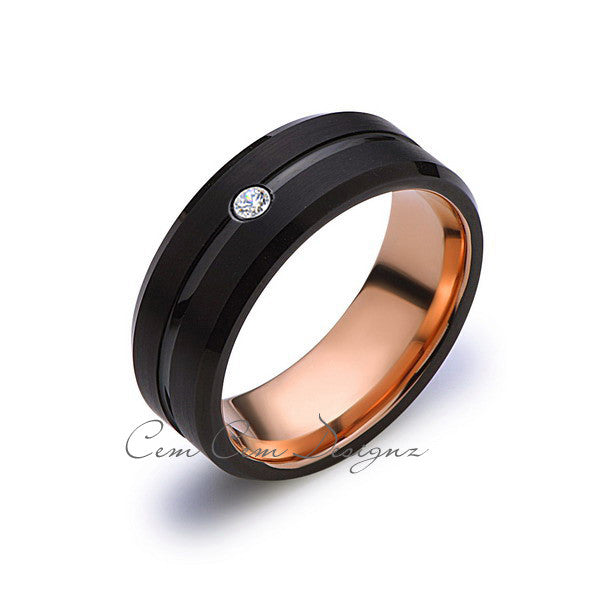 8mm,Mens,Diamond Band,Black Brushed,Rose Gold,Tungsten Ring,Rose Gold,Wedding Ring,Comfort Fit - LUXURY BANDS LA