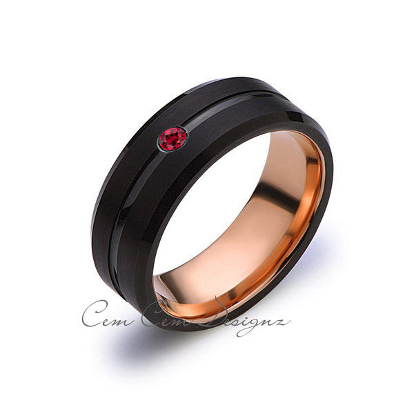 8mm,Mens,Red Ruby,Birthstone Band,Black Brushed,Rose Gold,Tungsten Ring,Birth Stone,Wedding Ring,Comfort Fit - LUXURY BANDS LA