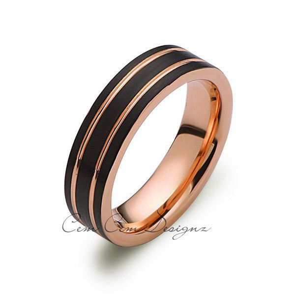 Rose Gold Tungsten Ring - Black Brushed Wedding Band - 6 mm Ring - Unique Engagement Band - Comfort Fit - LUXURY BANDS LA
