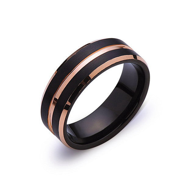 Rose Gold Tungsten Wedding Ring - Black Brushed Ring - 8mm Ring - Unique Engagment Band - Comfor Fit - LUXURY BANDS LA