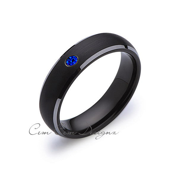 6 mm,Black and Gray Tungsten,Blue Sapphire,Band,Gun Metal,Black Brushed,Tungsten Rings,Mens Wedding Band,Comfort Fit - LUXURY BANDS LA