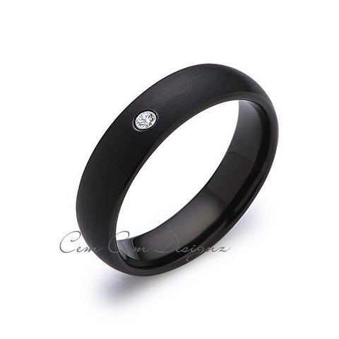6mm,Black Tungsten,Diamond,Wedding Band,Gun Metal, Black Brushed,Tungsten Rings,Mens Wedding Band,Comfort Fit - LUXURY BANDS LA