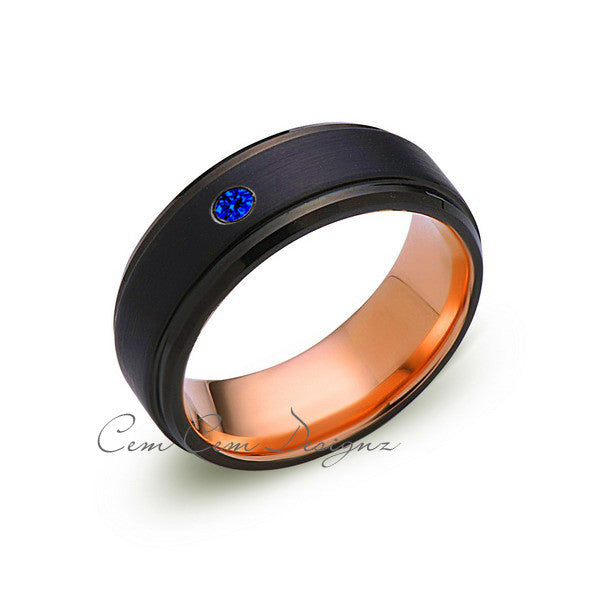 8mm,Mens,Blue Sapphire Band,Black Brushed,Rose Gold,Tungsten Ring,Rose Gold,Wedding Ring,Comfort Fit - LUXURY BANDS LA