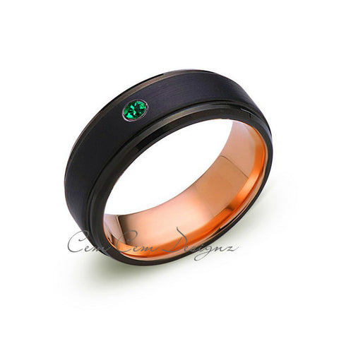 8mm,Mens,Green Emerald Band,Black Brushed,Birthstone Ring,Tungsten Ring,Wedding Ring,Comfort Fit - LUXURY BANDS LA