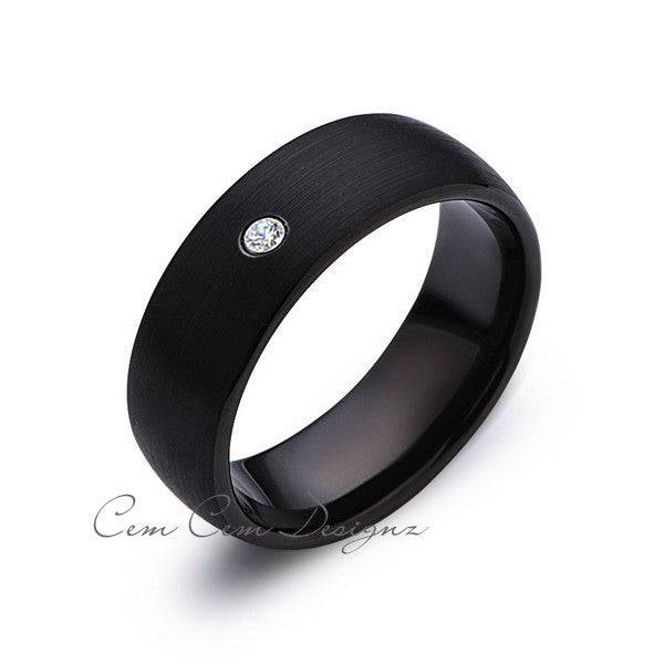 8mm,Black Tungsten,Diamond,Wedding Band,Gun Metal, Black Brushed,Tungsten Rings,Mens Wedding Band,Comfort Fit - LUXURY BANDS LA