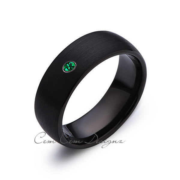 8mm,Black Tungsten,Green Emerald,Band,Gun Metal,Black Brushed,Tungsten Rings,Mens Wedding Band,Comfort Fit - LUXURY BANDS LA