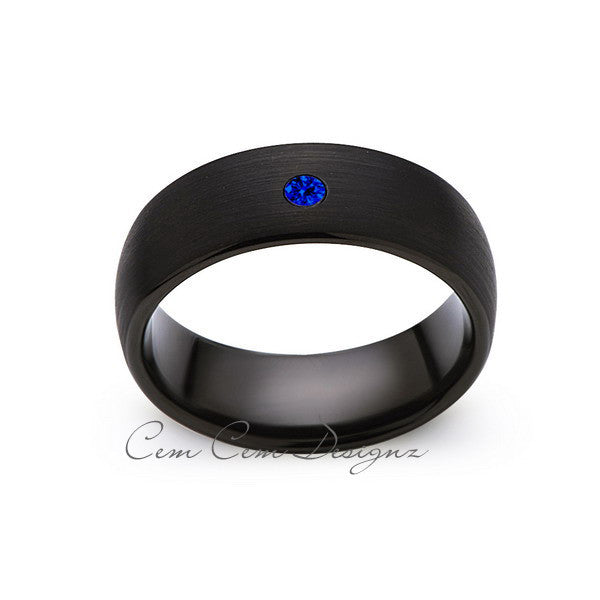 8mm,Black Tungsten,Blue Sapphire,Band,Gun Metal, Black Brushed,Tungsten Rings,Mens Wedding Band,Comfort Fit - LUXURY BANDS LA