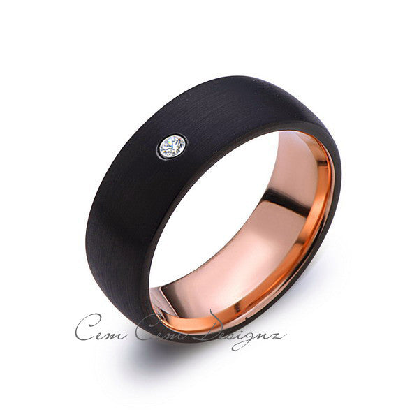 8mm,Mens,Diamond,Black Brushed,Rose Gold,Tungsten Ring,Rose Gold,Wedding Band,Comfort Fit - LUXURY BANDS LA