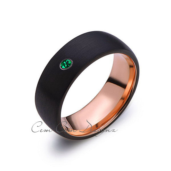 8mm,Mens,Green Emerald,Black Brushed,Rose Gold,Tungsten Ring,Birthstone,Wedding Band,Comfort Fit - LUXURY BANDS LA
