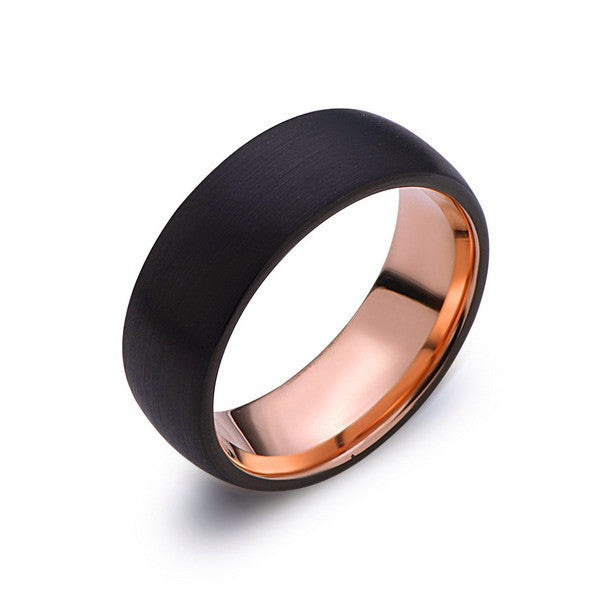 Rose Gold Tungsten Wedding Band - Black Brushed Ring - 8mm Ring - Unique Engagment Band - Comfort Fit - LUXURY BANDS LA