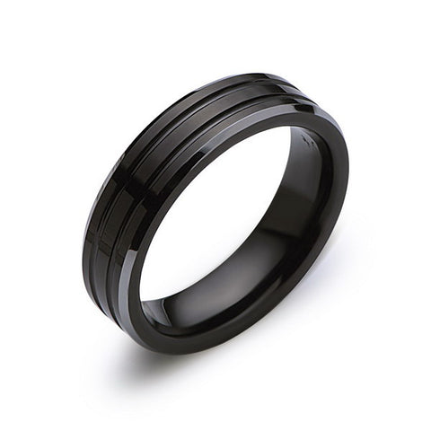 Black Tungsten Wedding Band - 6MM - High Polish - Silver Beveled Edges - Unique - LUXURY BANDS LA