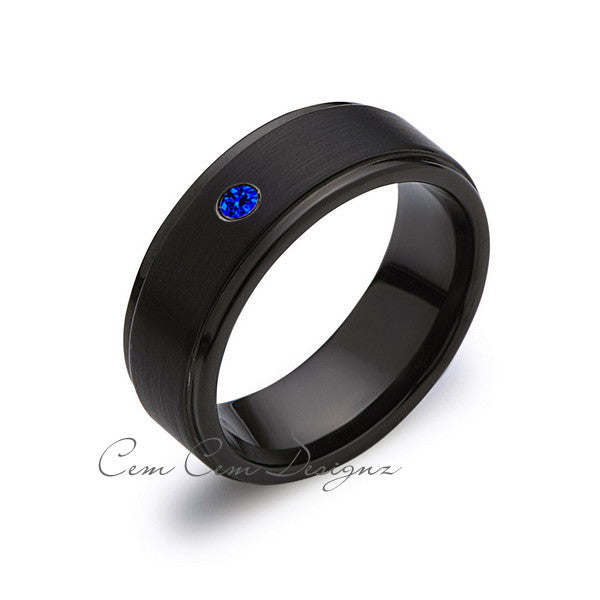 8mm,Blue Sapphire,Black Gun Metal Brushed,Tungsten Rings,Mens Wedding Band,Matching,Comfort Fit - LUXURY BANDS LA