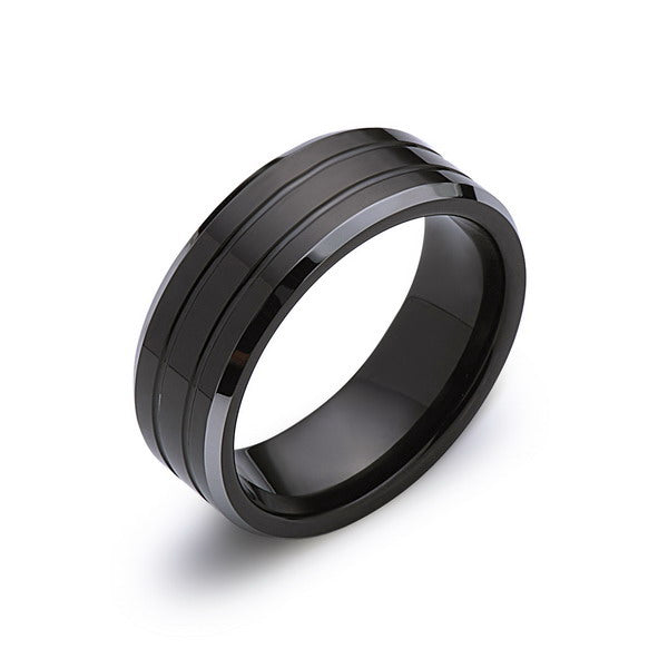 Black Tungsten Wedding Band - 8MM - High Polish - Silver Beveled Edges - Unique - Mens Engagement Ring - Comfort Fit