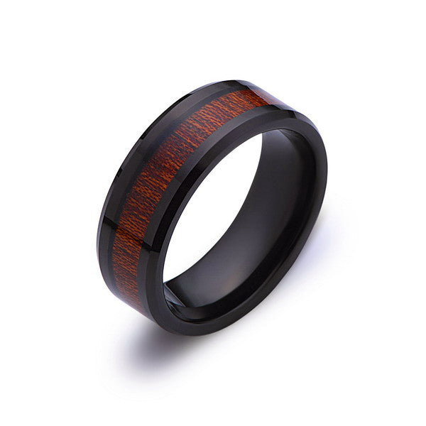 Koa Wood Wedding Ring - Black Tungsten Band - Hawaiian Koa Wood - 8mm - Mens - Comfort Fit - LUXURY BANDS LA