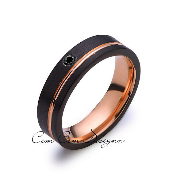 6mm,Mens,Black Diamond,Black Brushed,Rose Gold,Tungsten Ring,Rose Gold,Wedding Band,Comfort Fit - LUXURY BANDS LA