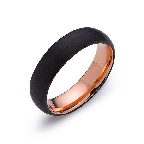 Rose Gold Tungsten Wedding Band - Black Dome Brushed Ring - 6mm Ring - Unique Engagment Band - Comfor Fit - LUXURY BANDS LA