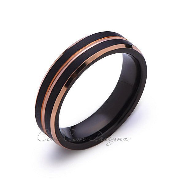 Rose Gold Tungsten Wedding Band - Black Brushed Ring - 6mm Ring - Unique Engagment Band - Comfor Fit - LUXURY BANDS LA